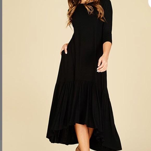 5f955db5d0c48 Annabelle Dresses & Skirts - Black Ruffle- Hem Hi-Low Midi With Side Pockets